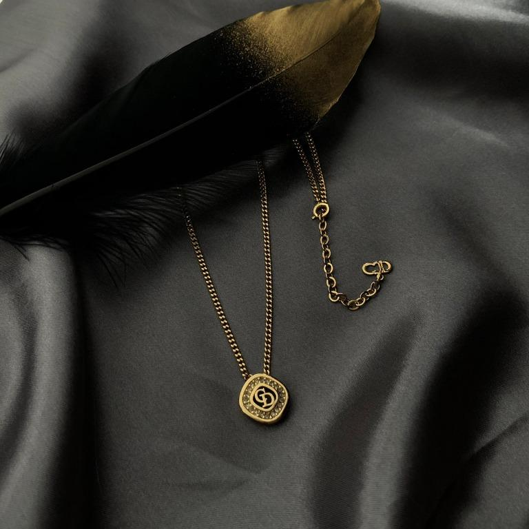 已售出,Christian Dior 菱型水鑽鑲圈項鍊
