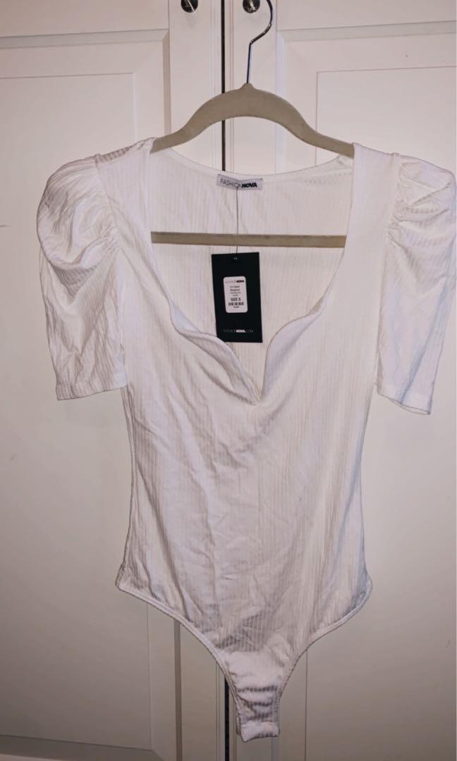 Fashionnova white bodysuit size S