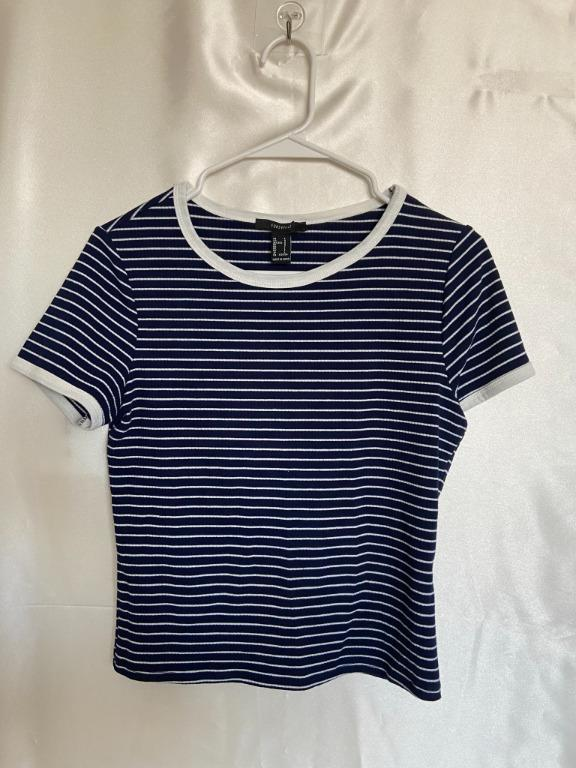 Forever21 - Blue Striped Fitted Crop Top - Large