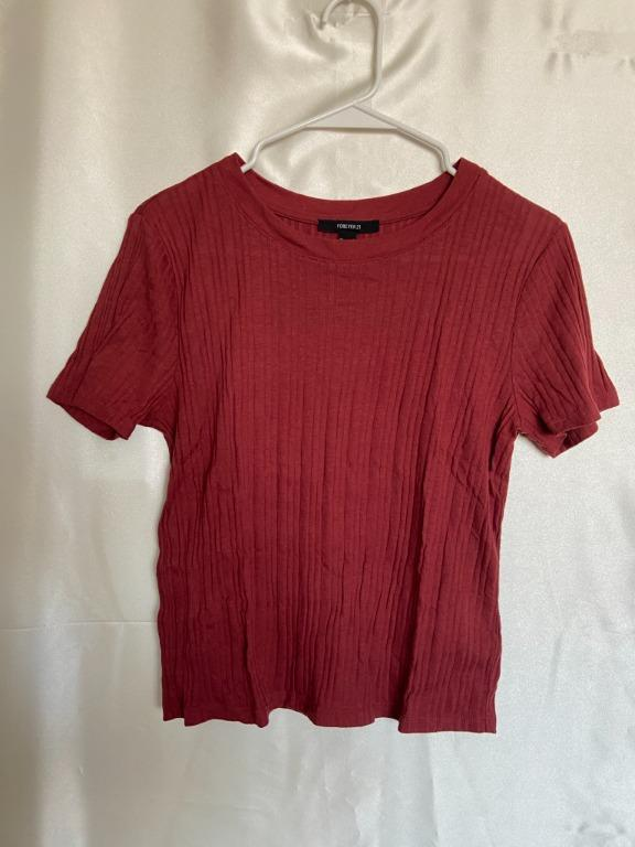Forever21 - Terracotta Red Ribbed T-Shirt - Large