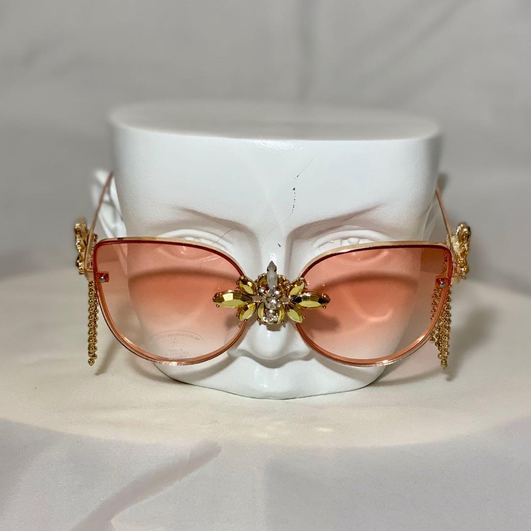 Gold Rimmed Bling Glasses