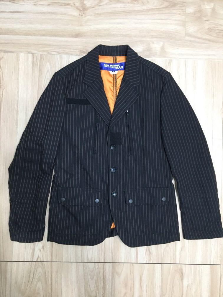 出清特價!Junya Watanabe Comme des Garçons 黑色羊毛保暖直條紋西裝外套S