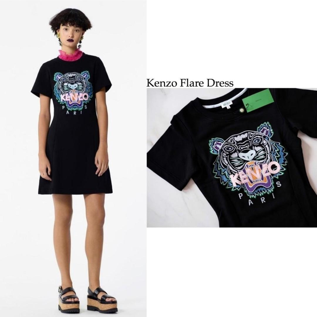 Kenzo Flare Dress Sweatshirt in Black - Baby Pink (Fitted - Short Sleeve) Size S M L , Panjang Size S = 43cm , 89cm Size M = 45cm , 91cm Size L = 47cm , 93cm