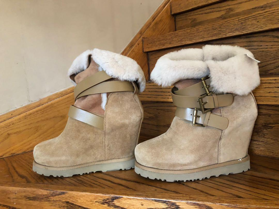 Light Brown Leather and Fur Boots