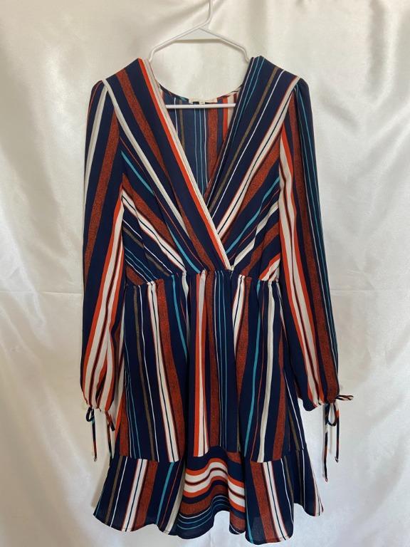 M Boutique - Le Lis - Medium Faux Wrap Dress Long Sleeve Multicolour
