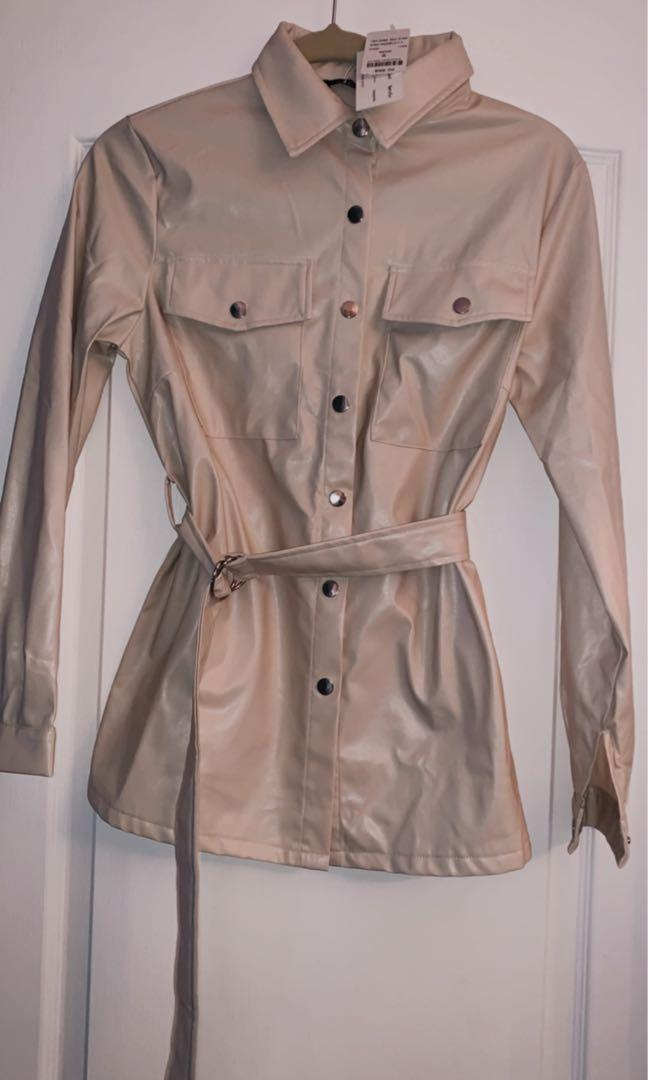 M Boutique vegan leather shirt in beige size S