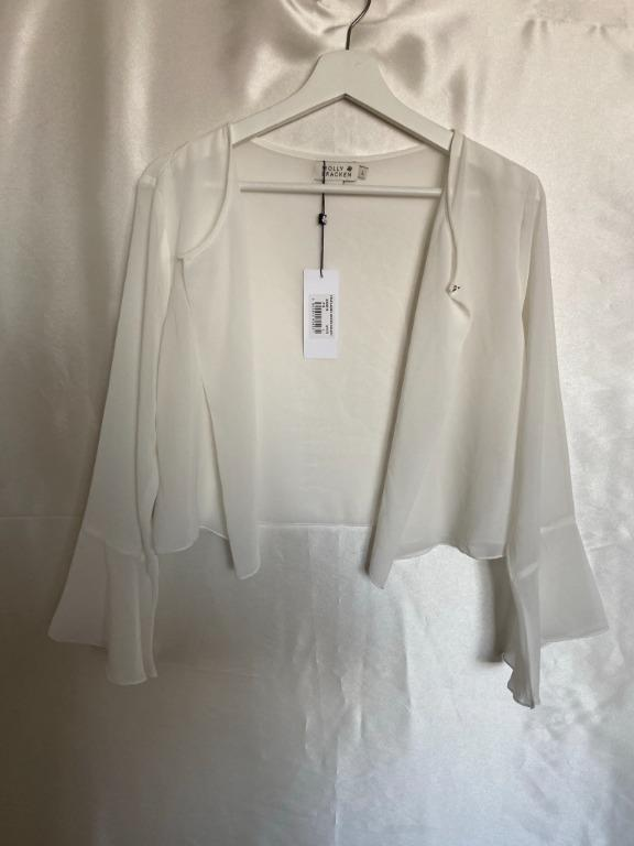 Molly Bracken - White Sheer Blouse Cover-up Cardigan Cropped - Large