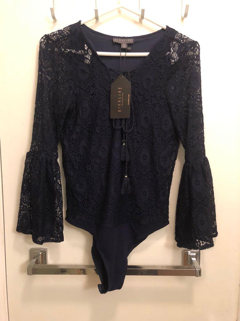 NEW Black lace bodysuit size medium