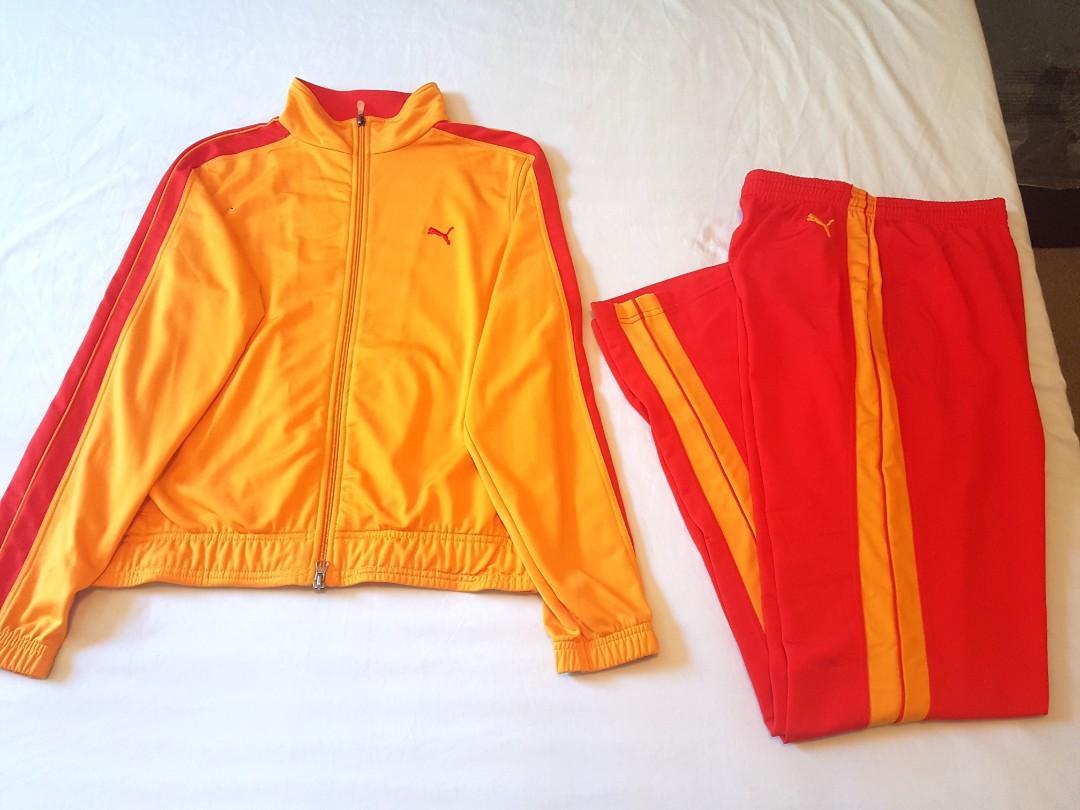 NEW PUMA Retro Red Orange Track Sweat suit