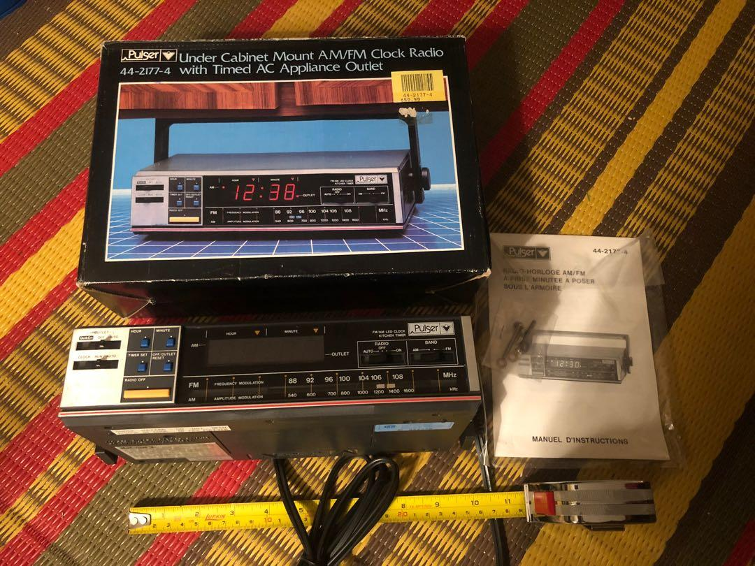 NEW vintage Pulser Under Cabinet Mount Clock Radio