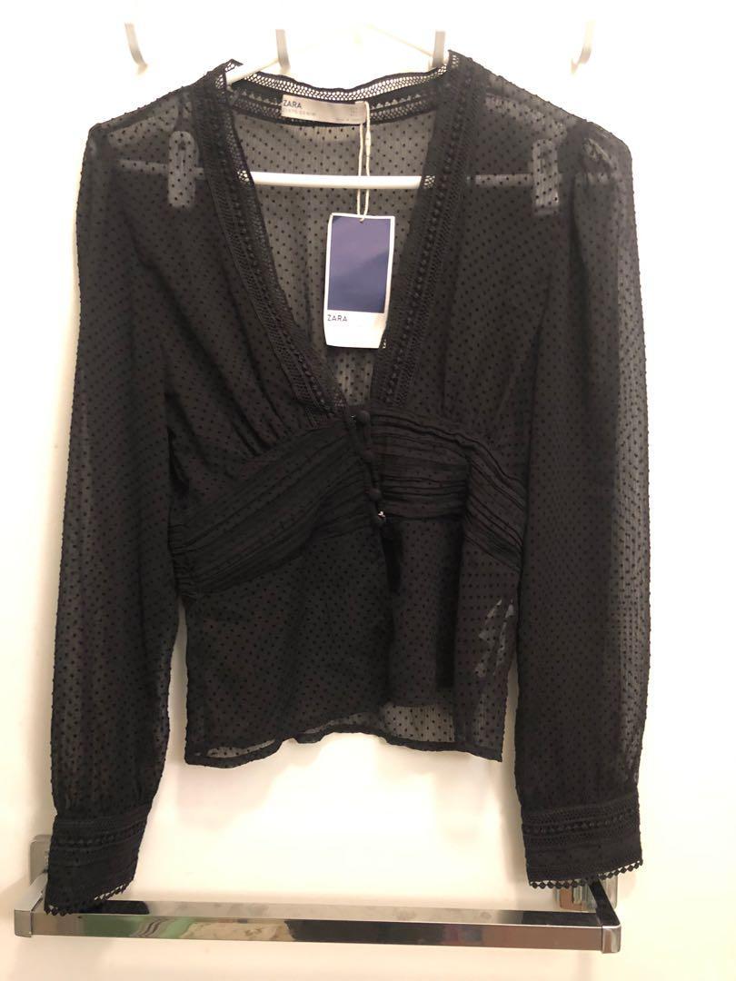NEW Zara sheer black elegant blouse size XS