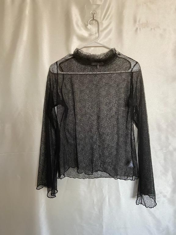 Oak + Fort - OS - See-through Lace Long Sleeve Top