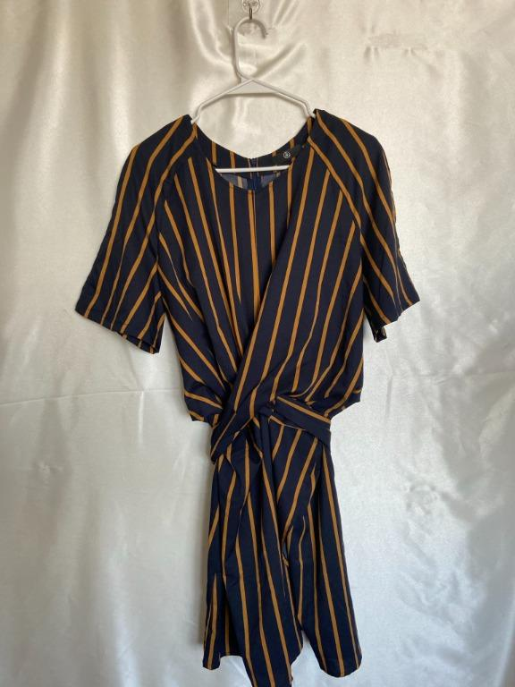 Office Dress - Blue and Brown/Orange Stripes - US 12
