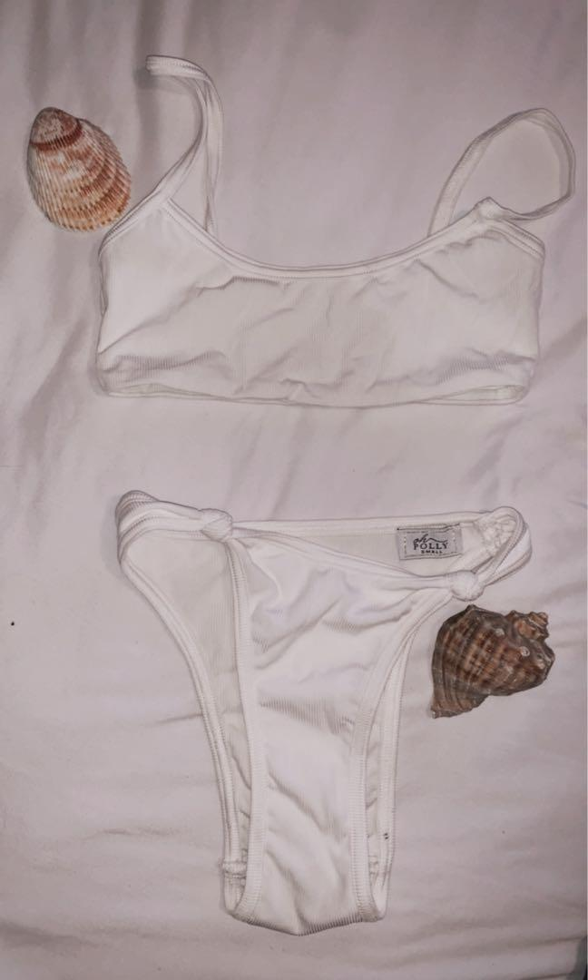 Oh Polly white 2 piece bathing suit in size S