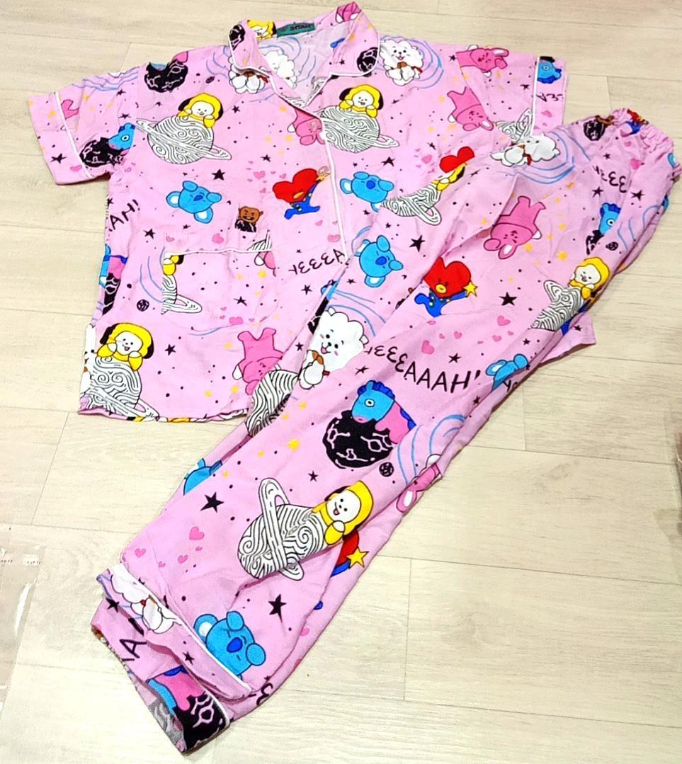 Pajamas BT21 Baju Tidur BTS Pink Setelan piyama