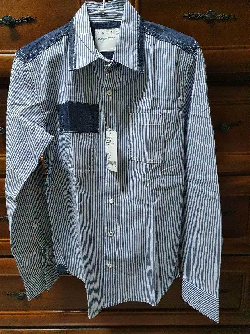 pazzo 直條紋單寧拼接長袖襯衫 藍 L