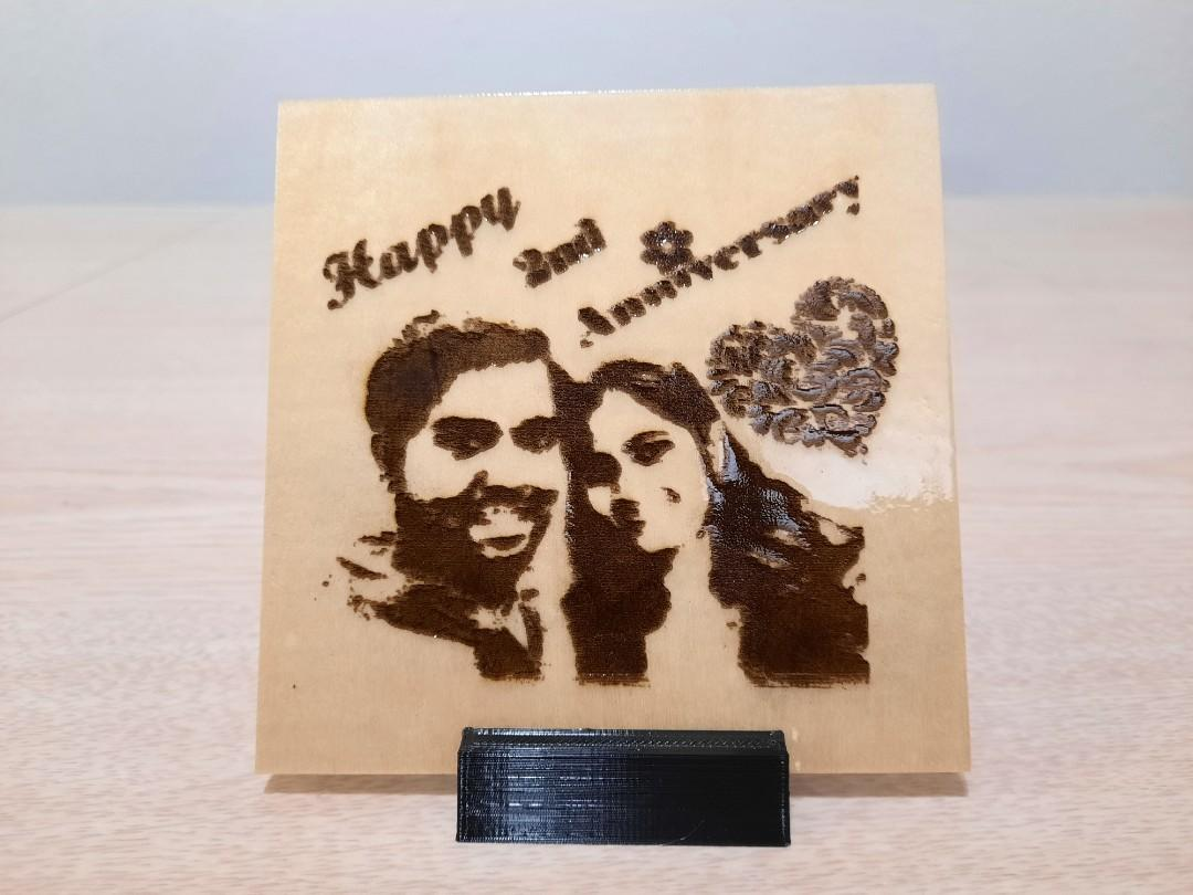 Personalised Picture  laser engraved on wood