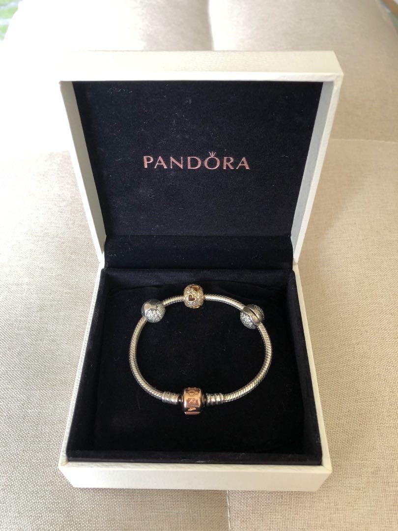 Fixed Price Clearance Sale Preloved Pandora Moments Silver Bracelet With Rose Gold Clasp Set Women S Fashion Jewelry Organizers Bracelets On Carousell