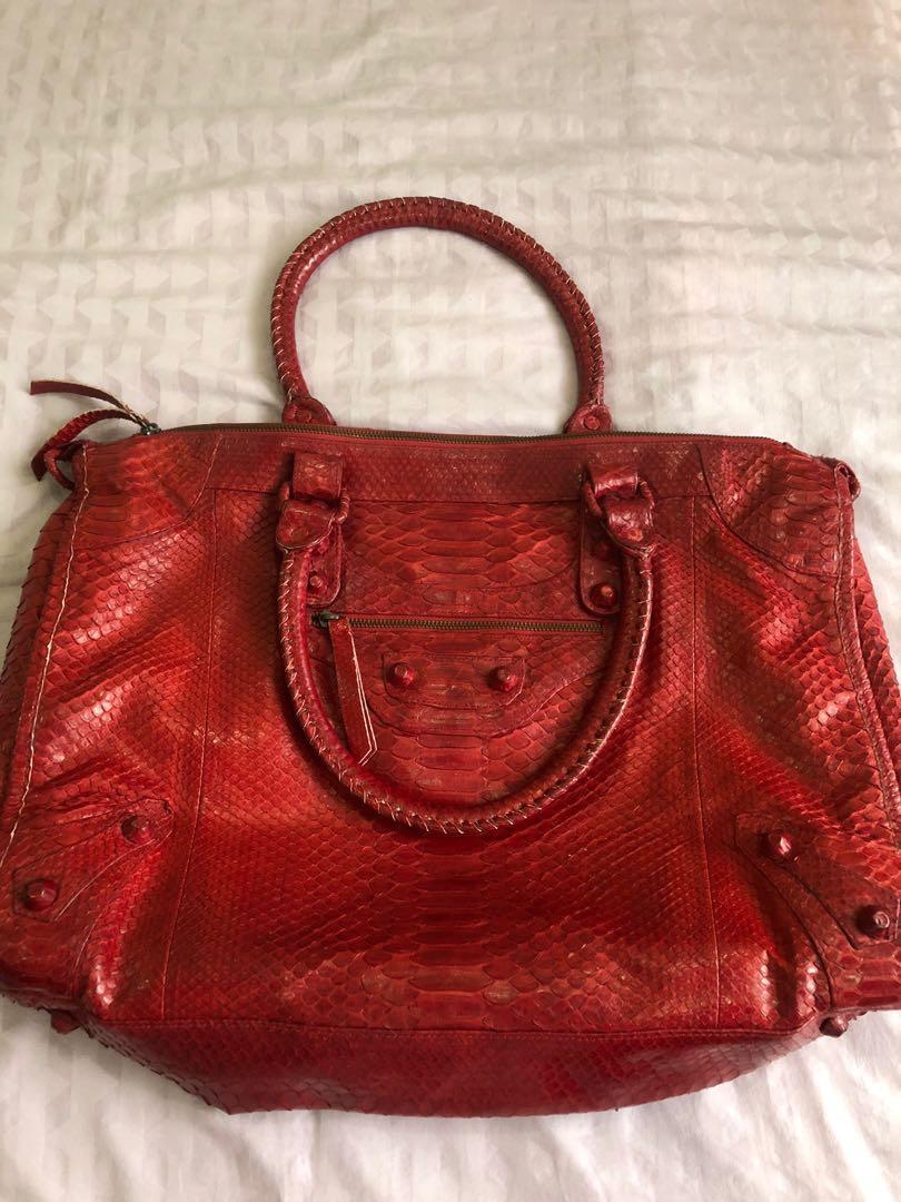 Snake skin red bag ; tas wanita kulit ular asli