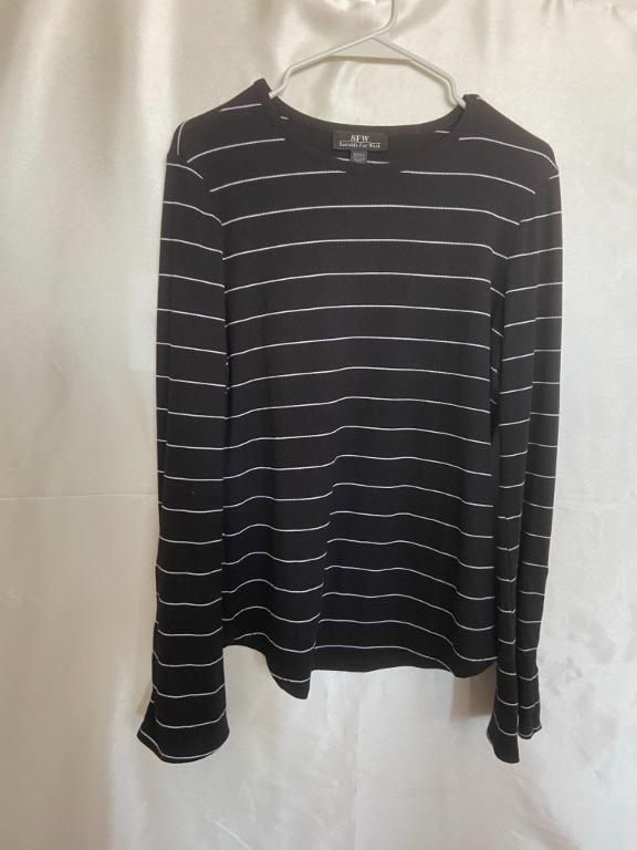 Suitable For Work (SFW) - Simons - Black Striped Sweater - Large