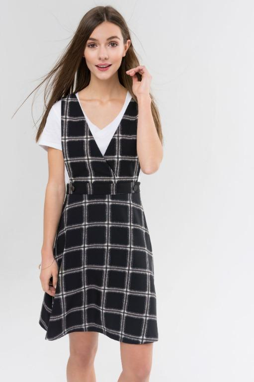 Suzy Shier - Pinafore Dress with Crisscross Front - Large