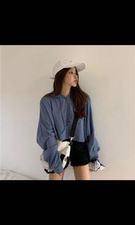 藍色短版帽t