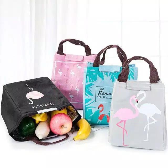 Tas bekal motif flamingo lunch bag flamingo Lunch bag tas bekal cooler bag FLAMINGO