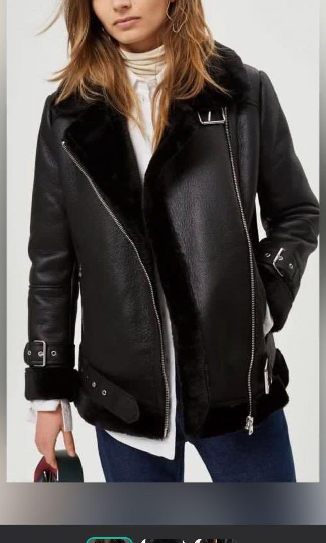 Top Shop Faux Shearling Moto Jacket