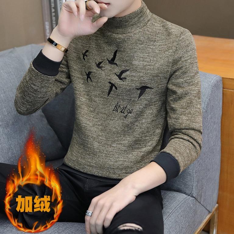 男裝男式加絨加厚T恤青少年半高領T恤男士套頭中領保暖打底衫290456