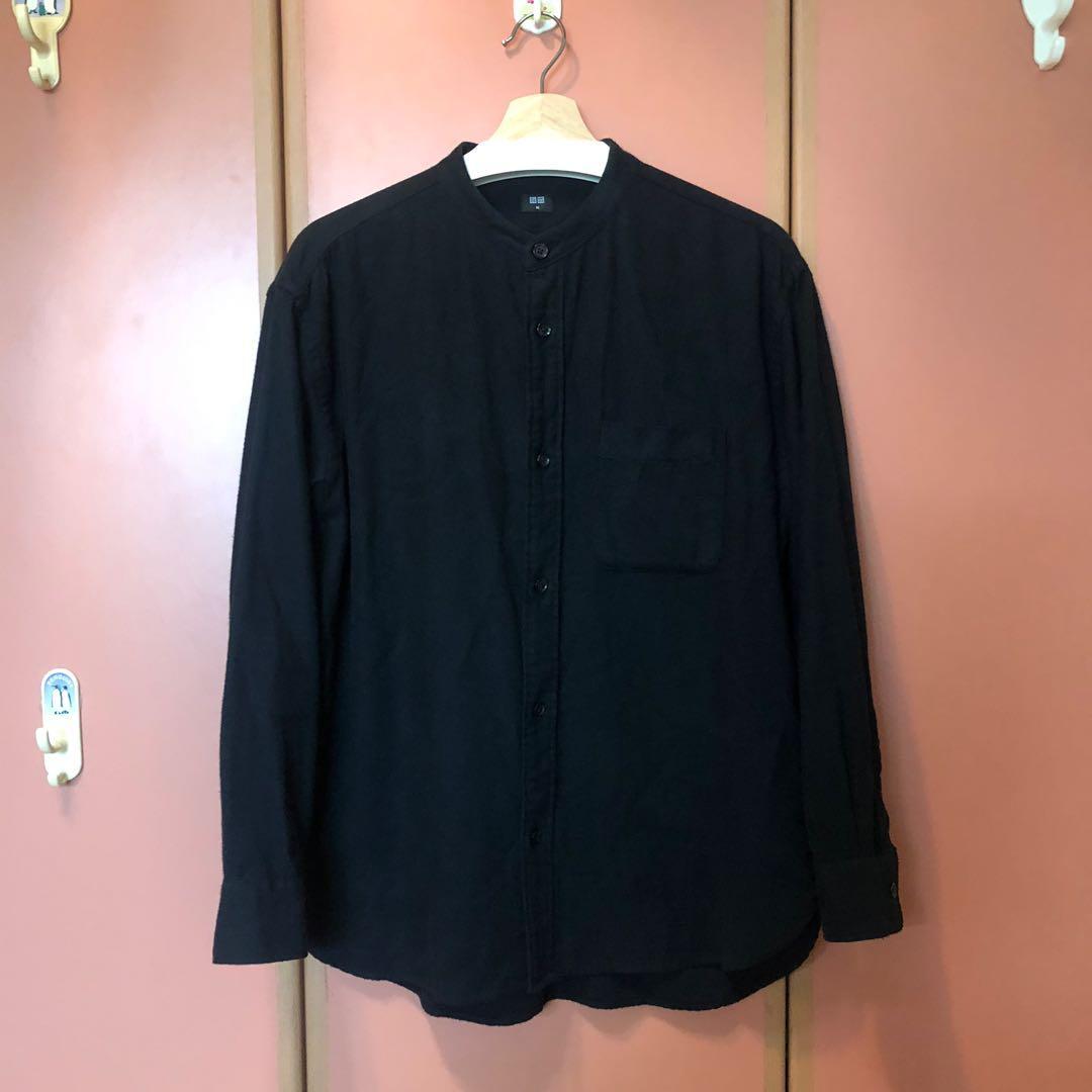 Uniqlo 法蘭絨 立領 寬版 襯衫 黑