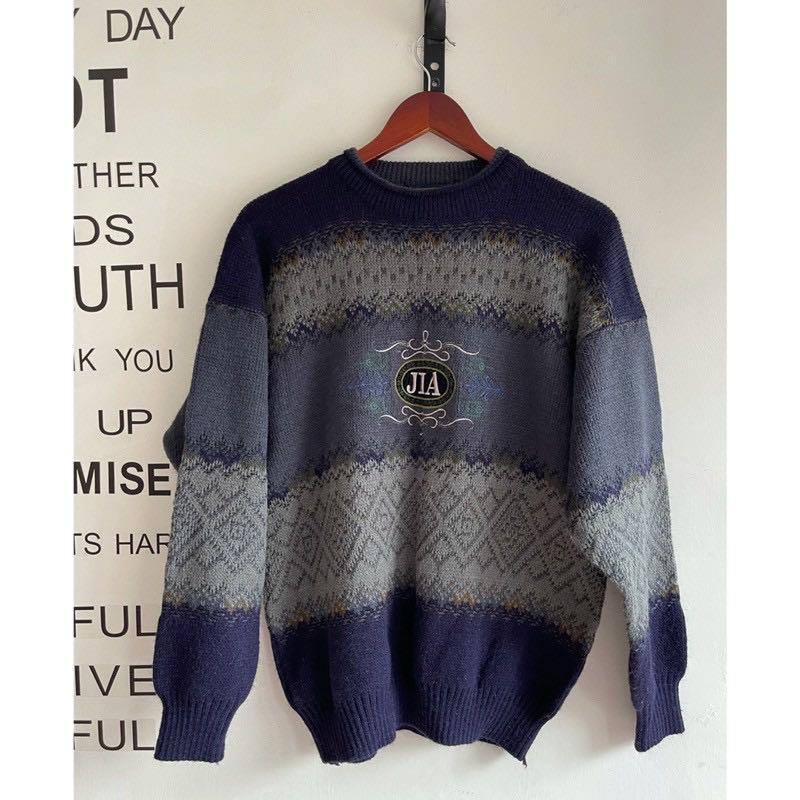 🇯🇵日本Vintage 日牌JIA原宿藍灰條紋古著針織毛衣
