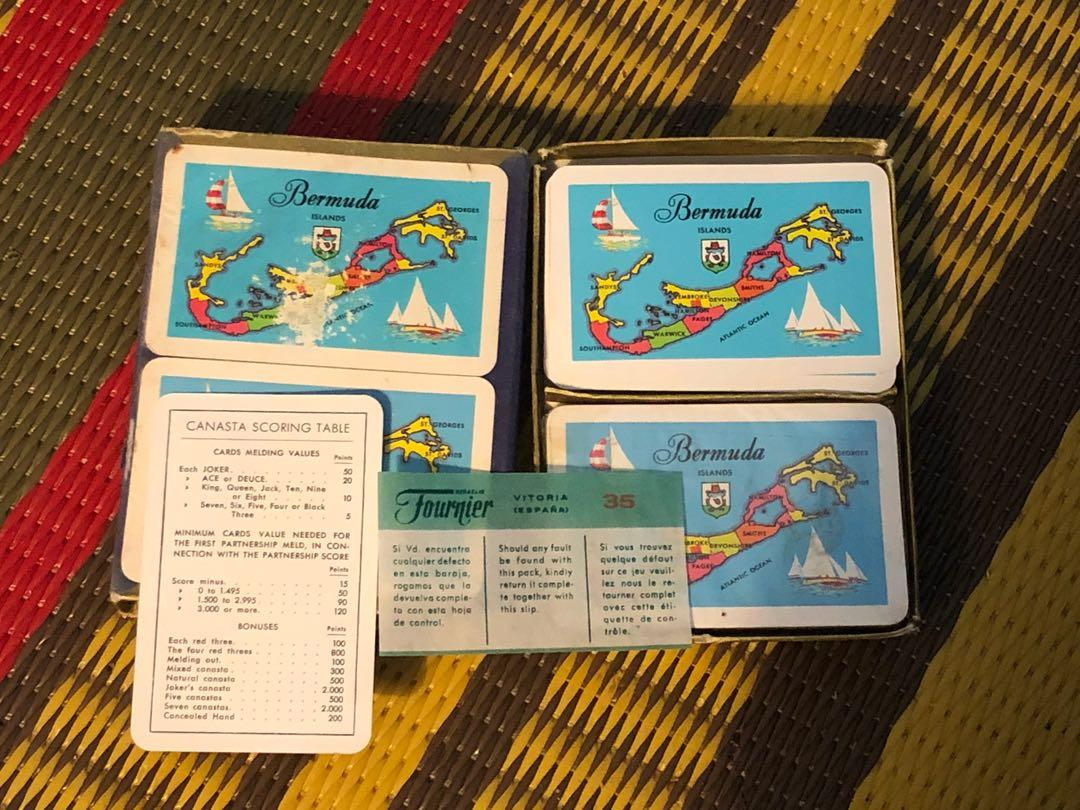 Vintage set of Bermuda map playing cards