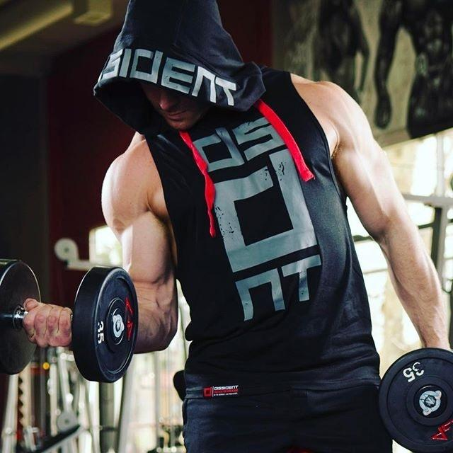 wish新款 肌肉型男連帽無袖馬甲寬松背心運動健身訓練休閑衛衣295579