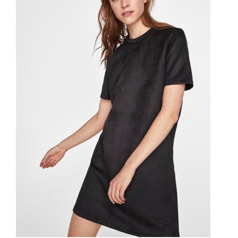 Zara - Black Faux Suede Dress - Large