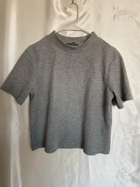 Zara - Cropped Mock neck short sleeve sweater - Large - Black and Grey