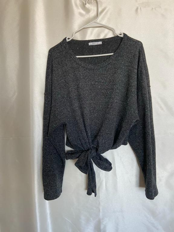 Zara - Wrap Tie Long Sleeve Sweater - Medium