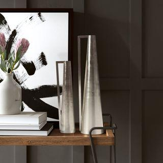 2 Piece Riedel Tapered Metal Table Vase Set