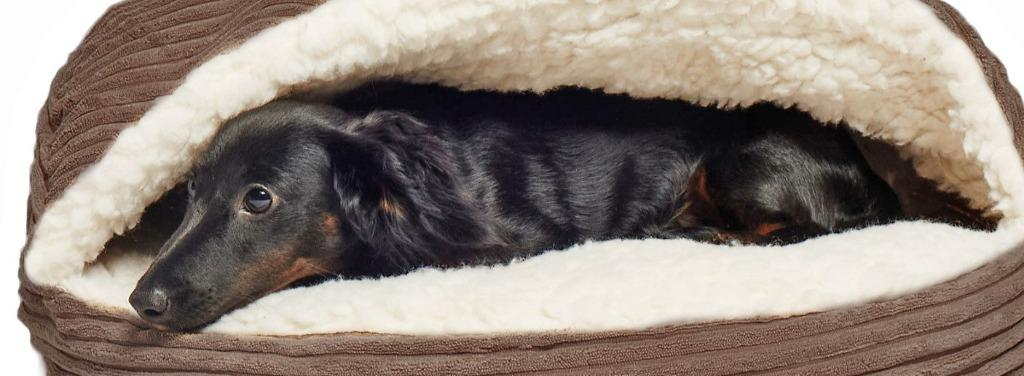 Burton Corduroy Sherpa Lined Cave Hooded Dog Bed / Pet Bed
