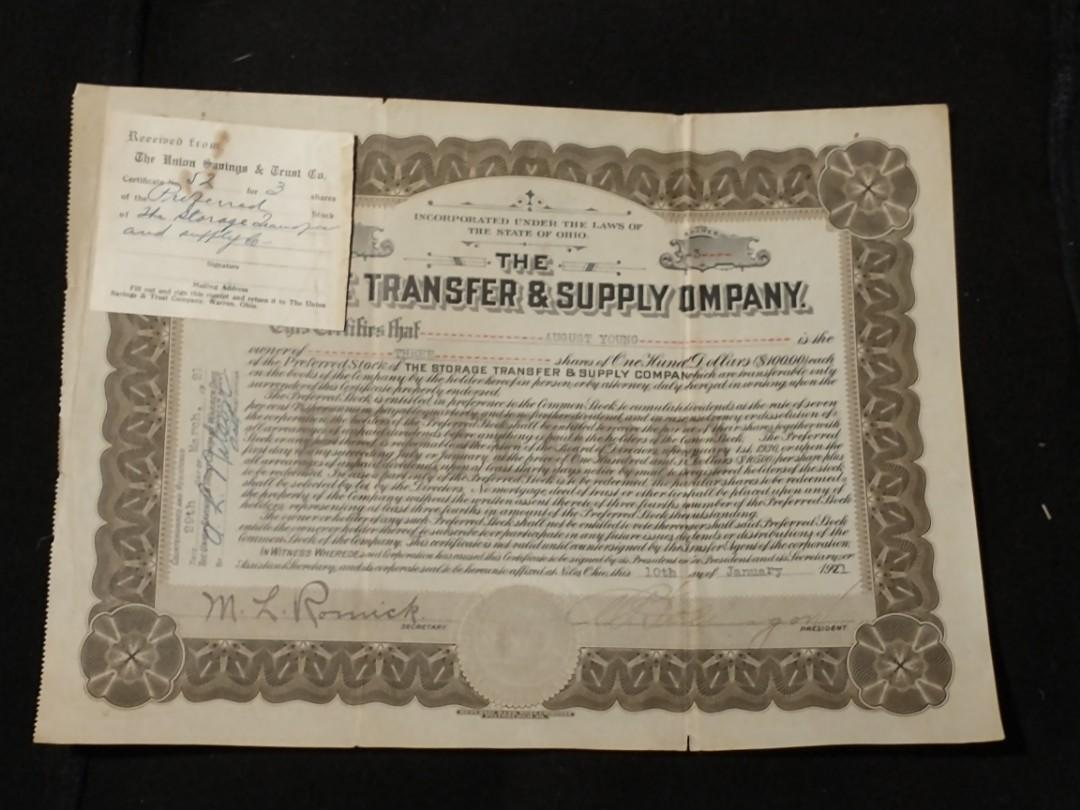 Early 1900s STORAGE TRANSFER & SUPPLY CO Stock Certificate