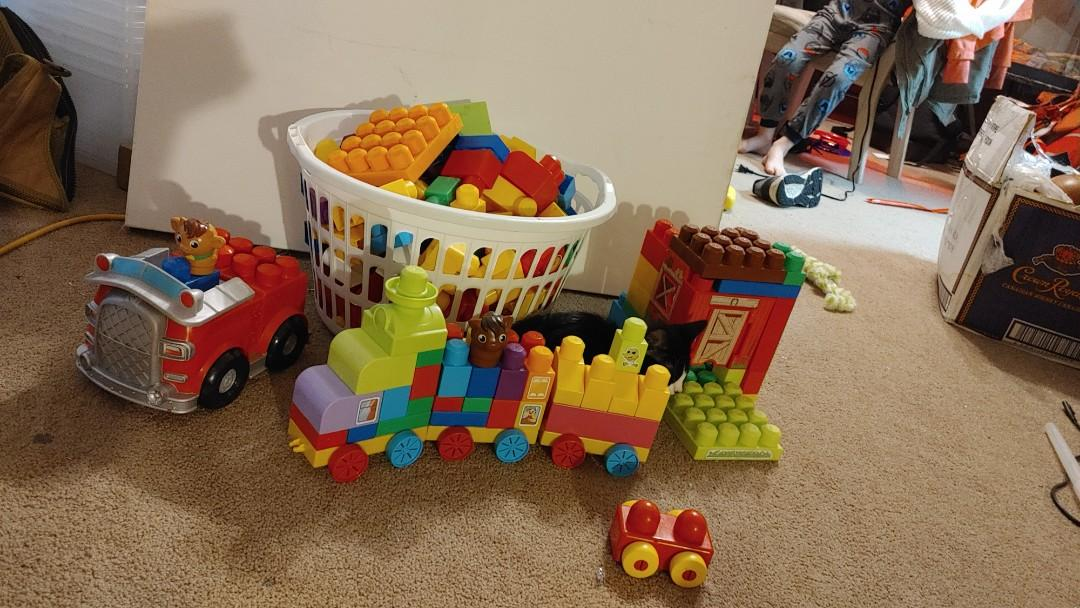 Mega blocks, lego train set and fire lego truck