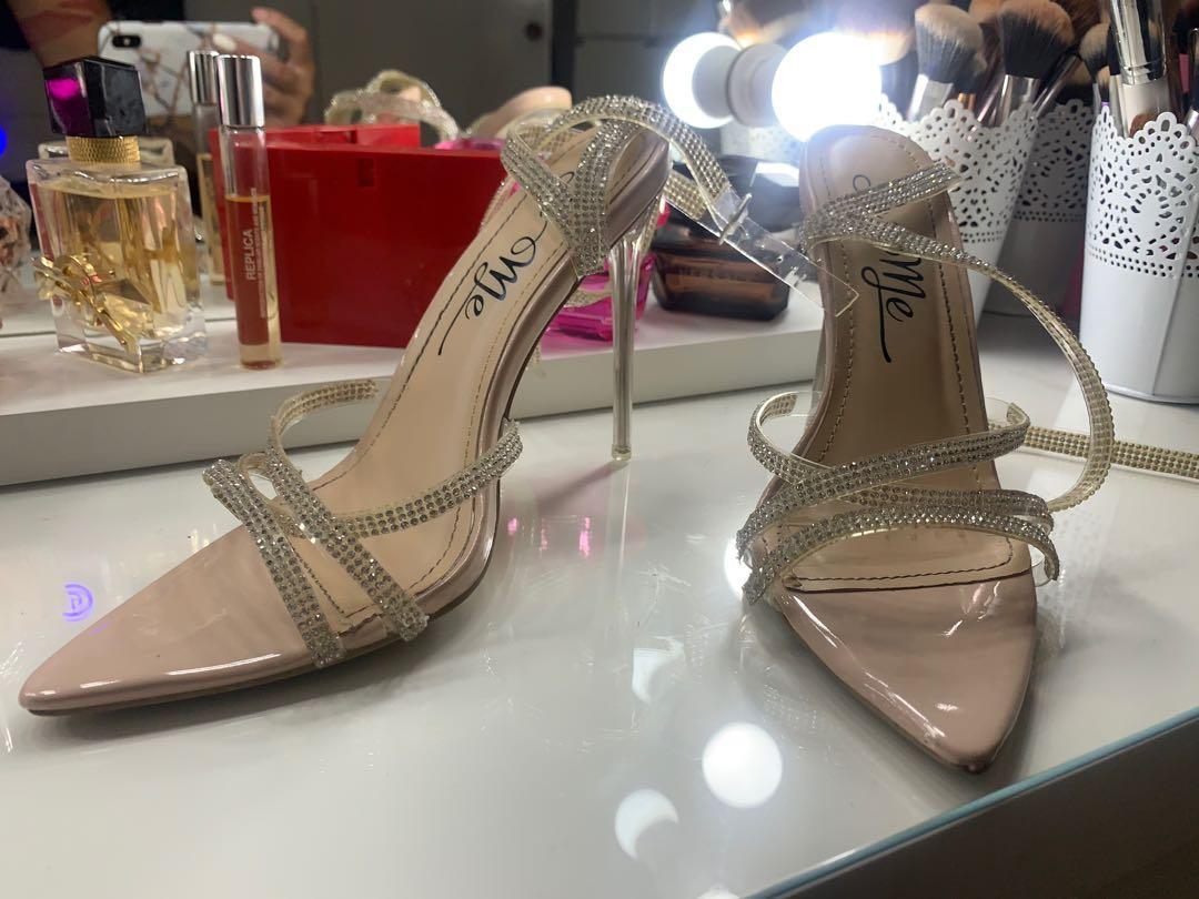 Nude diamond heels