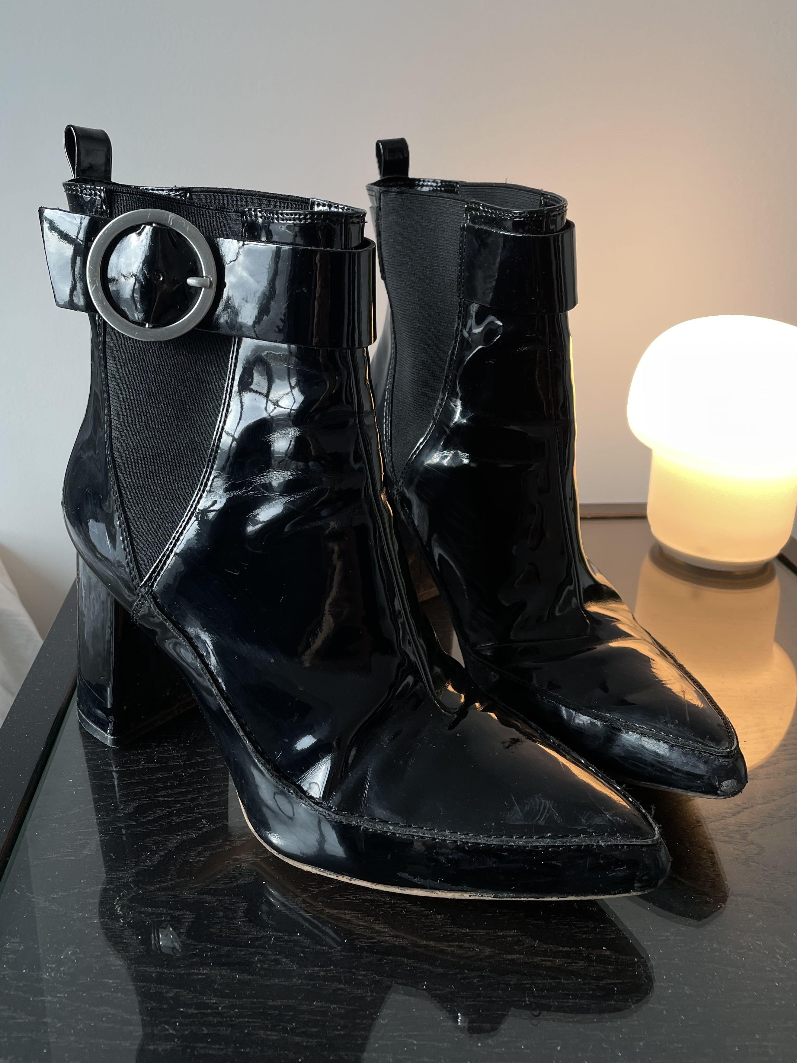Patent Leather Booties with Heel