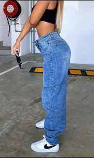 PLT thigh split mid wash jeans