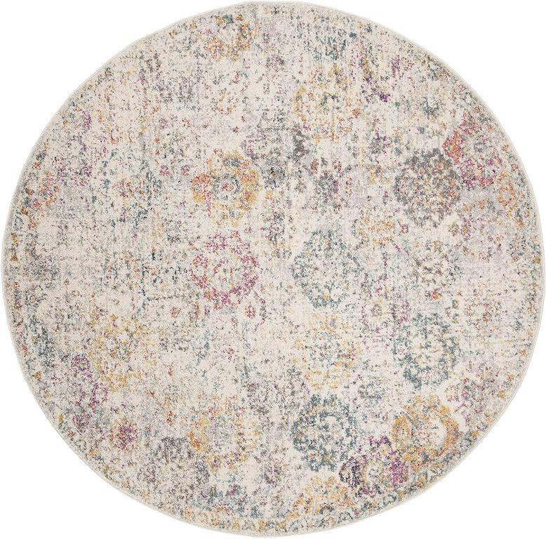 Safavieh Madison Collection Grey and Gold (5' Round) Area Rug