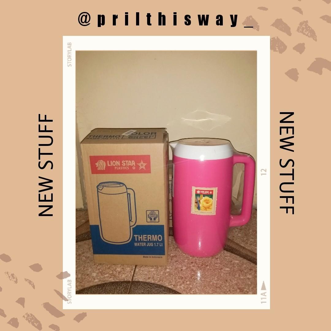 #bersihmaret Teko Thermo Water Plastik Lion Star 1,7 Liter Warna Pink Original