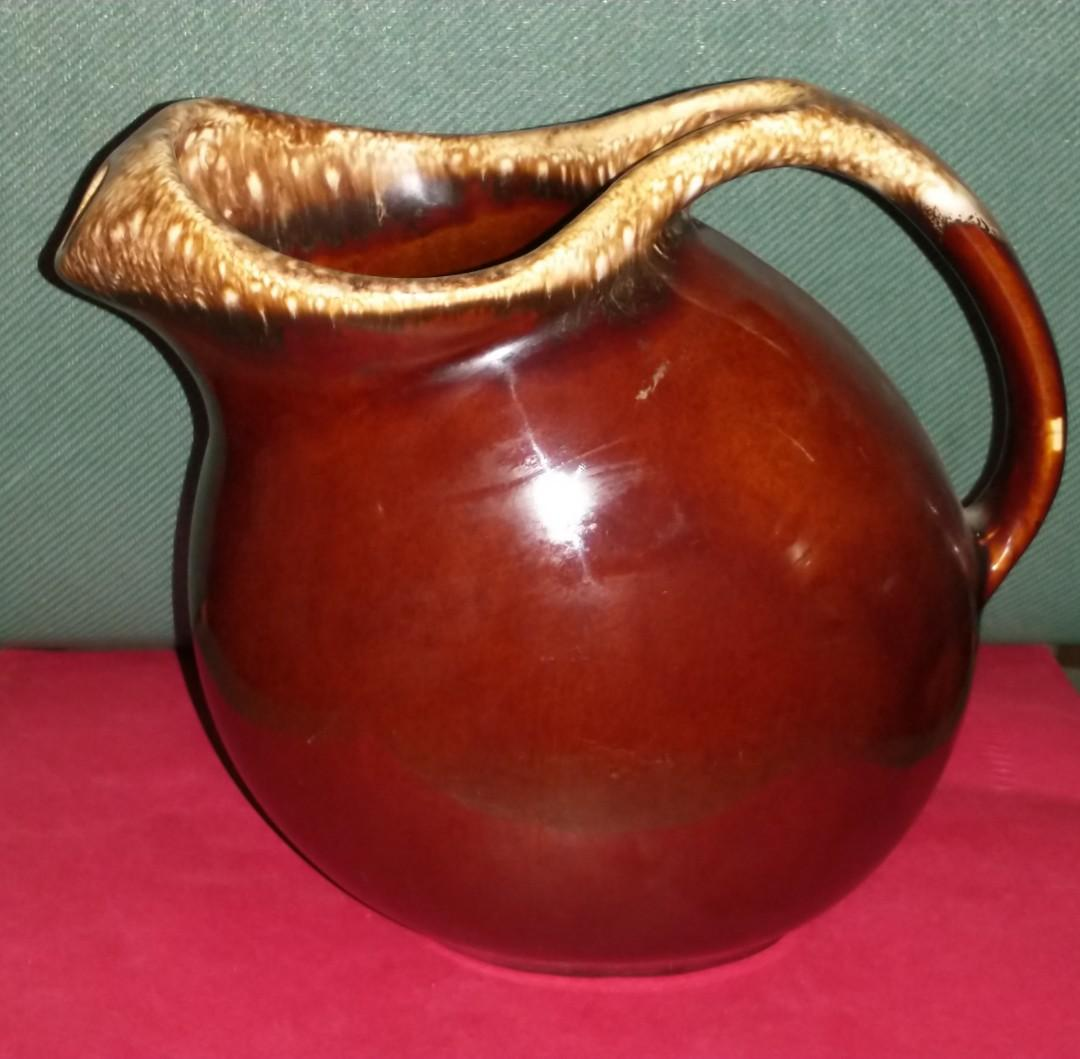 Vintage Hull Art Pottery Brown Drip Large Pitcher