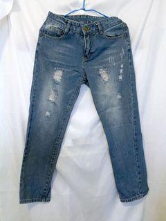 二手 藍色 牛仔褲 刷破牛仔褲 破洞