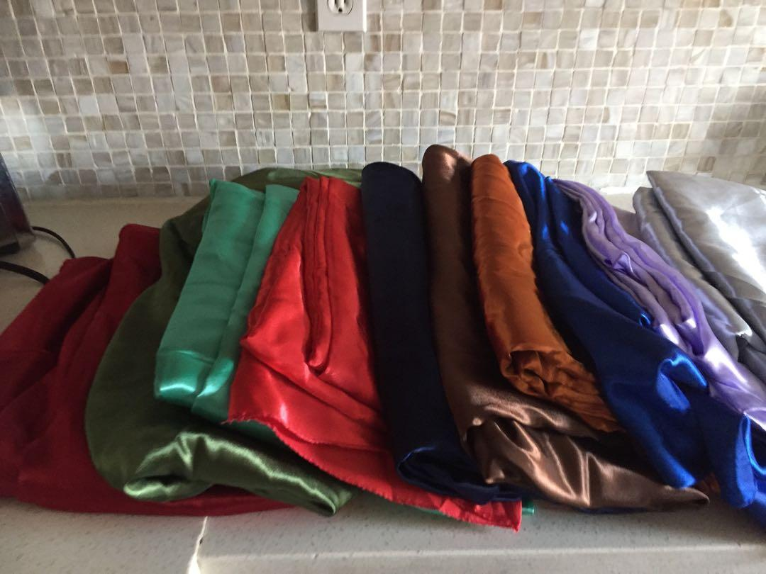 Assorted round satin tablecloths $10 each