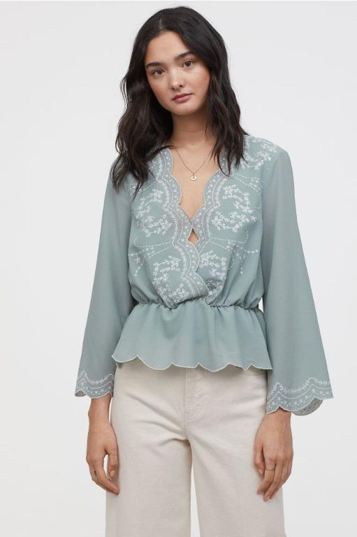 Brand New H&M Dusky Green Blouse with Embroidery