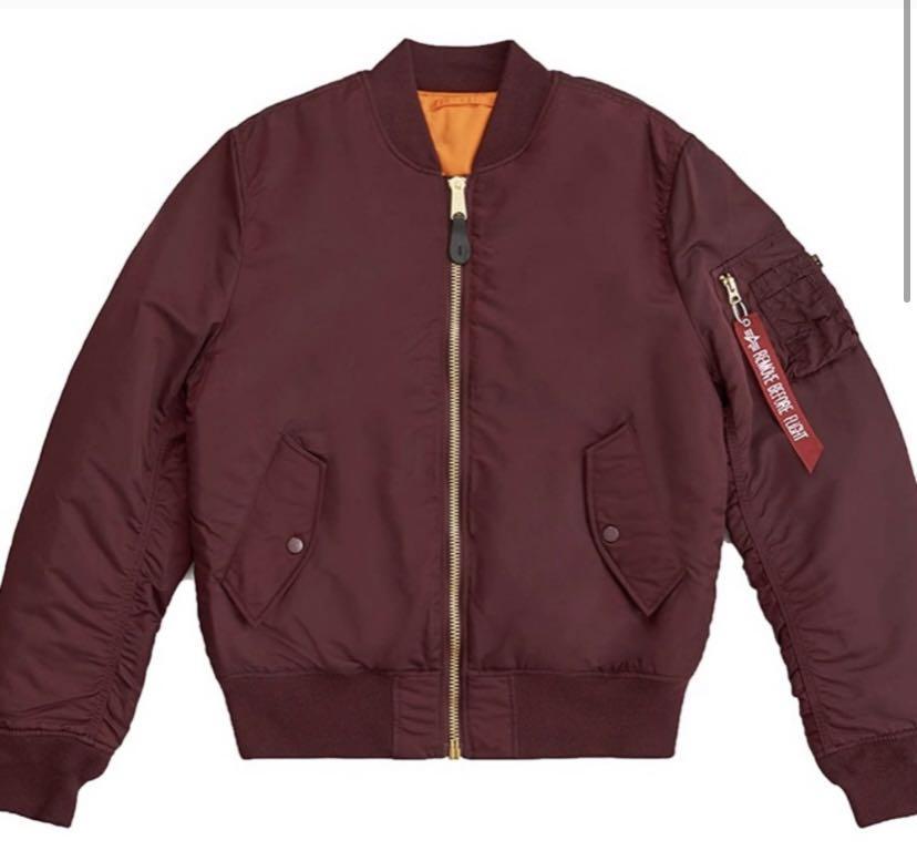 Burgundy Alpha Industries Bomber jacket